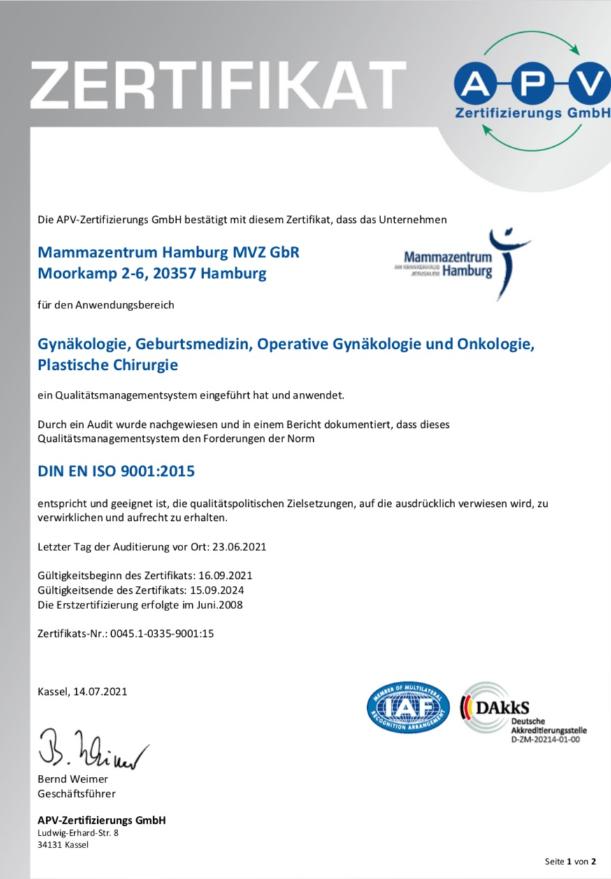 Zertifikat ISO Zentrale und Standorte 2021